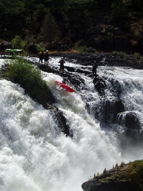 Darin McQuoid kayaks waterfall in Northern California